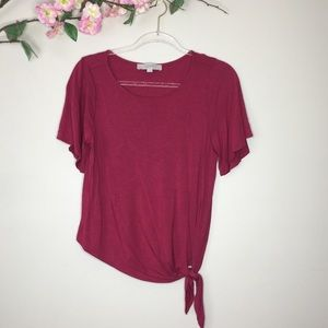 Loft short sleeve side tie knot shirt- Size Small